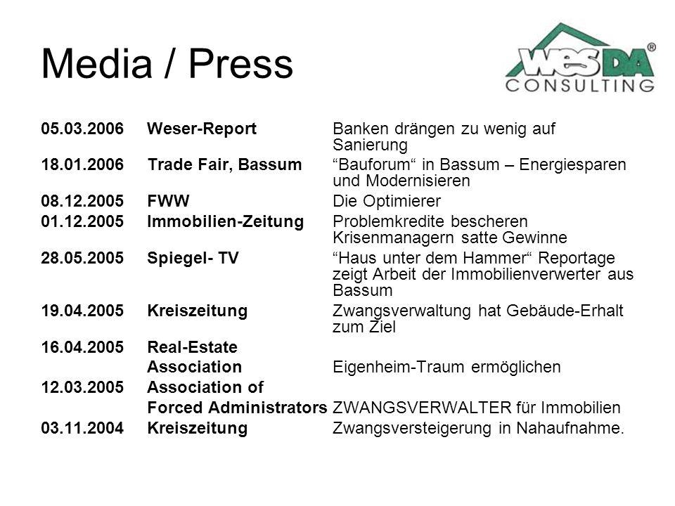 Media / Press 05.03.2006 Weser-Report Banken drängen zu wenig auf Sanierung.