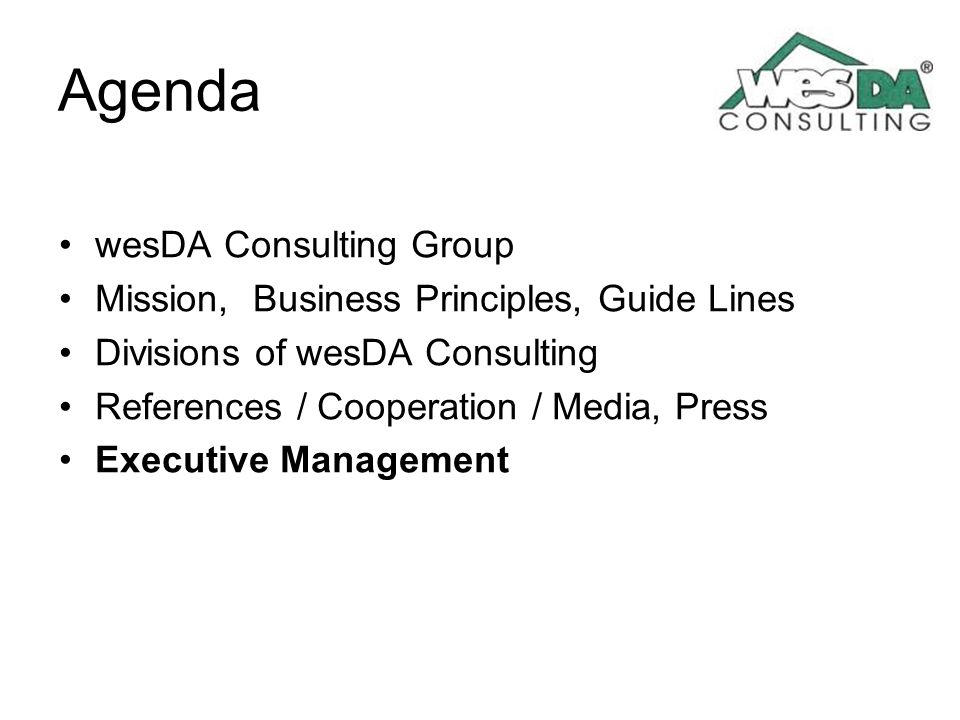 Agenda wesDA Consulting Group