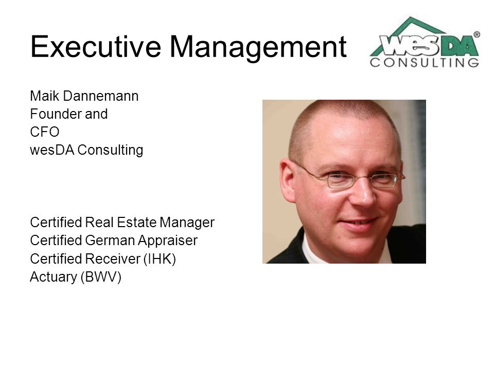 Executive Management Maik Dannemann Founder and CFO wesDA Consulting