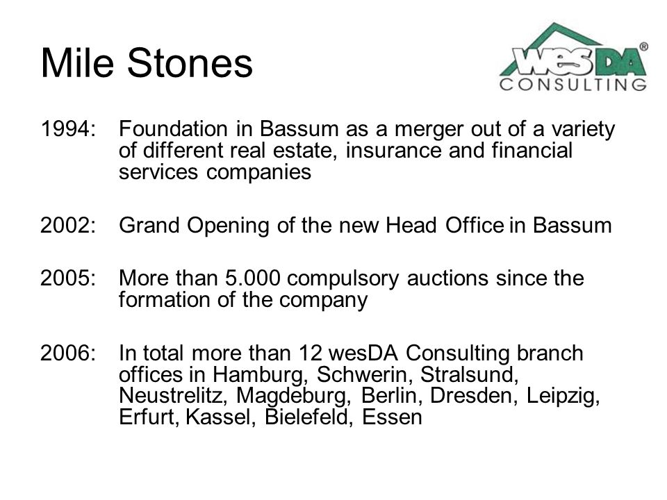 Mile Stones 1994: Foundation in Bassum as a merger out of a variety of different real estate, insurance and financial services companies.