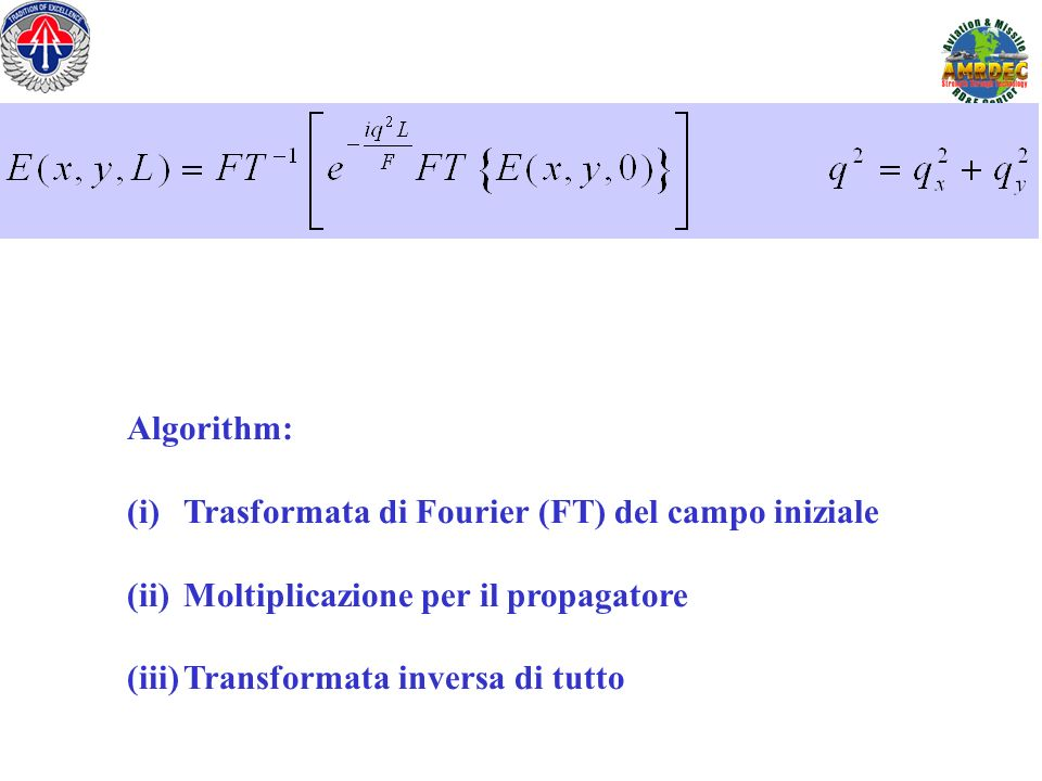 Algorithm: Trasformata di Fourier (FT) del campo iniziale.