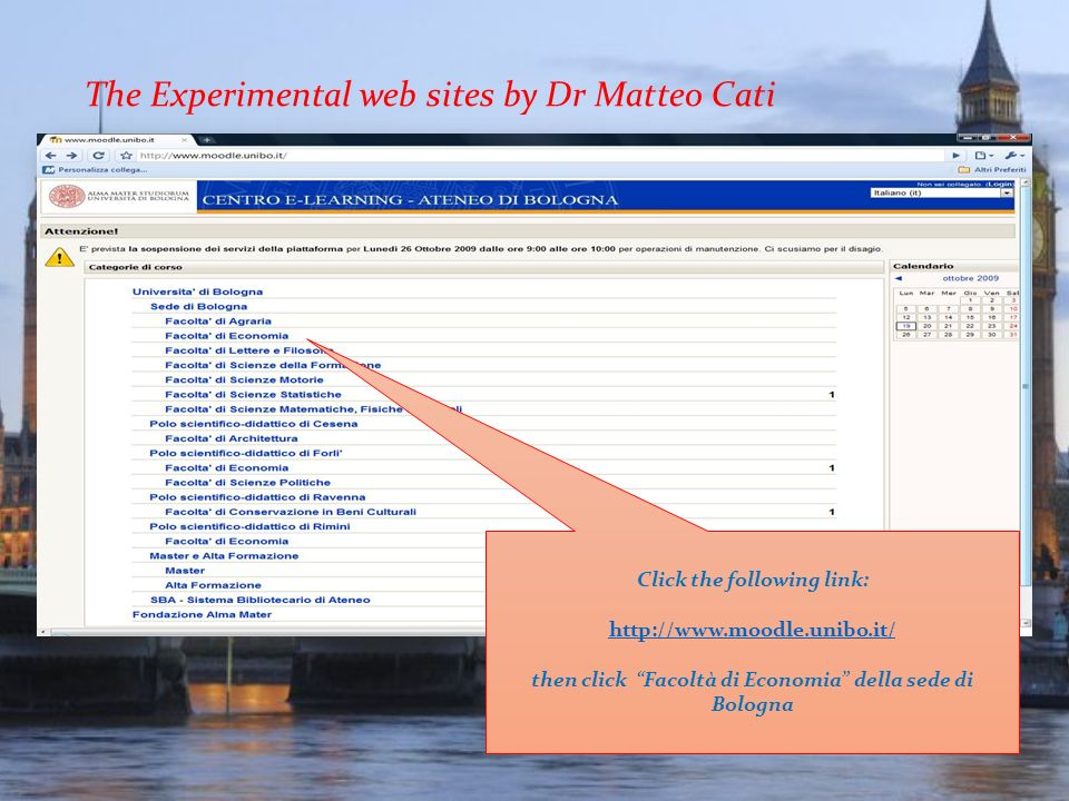 The Experimental web sites by Dr Matteo Cati
