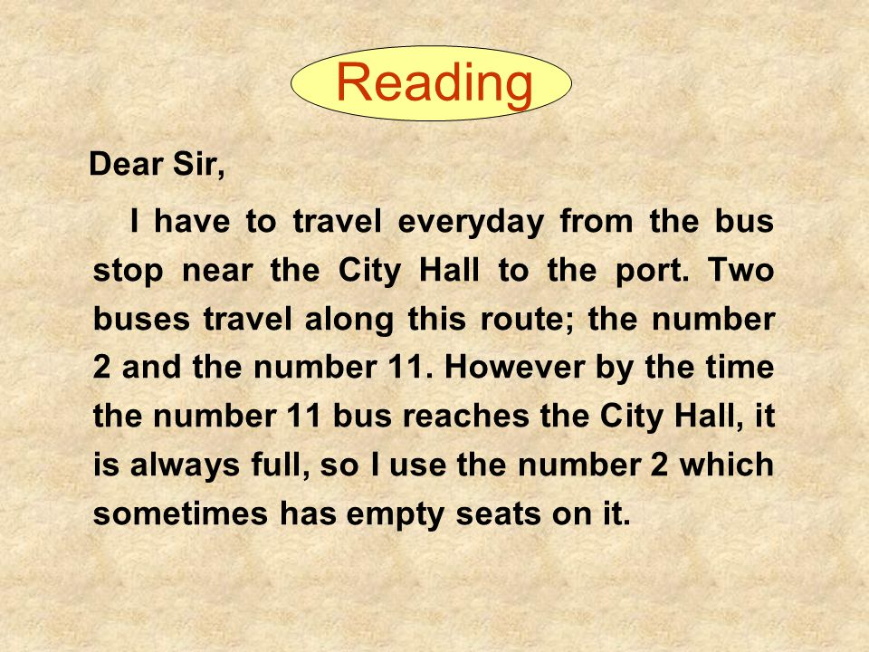 Reading Dear Sir,
