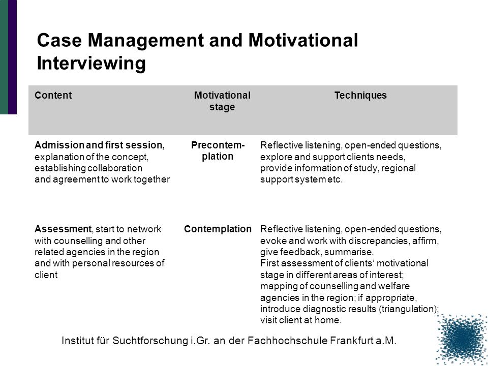 Case Management and Motivational Interviewing