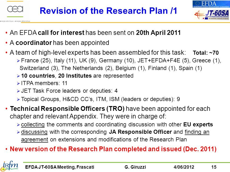 Revision of the Research Plan /1