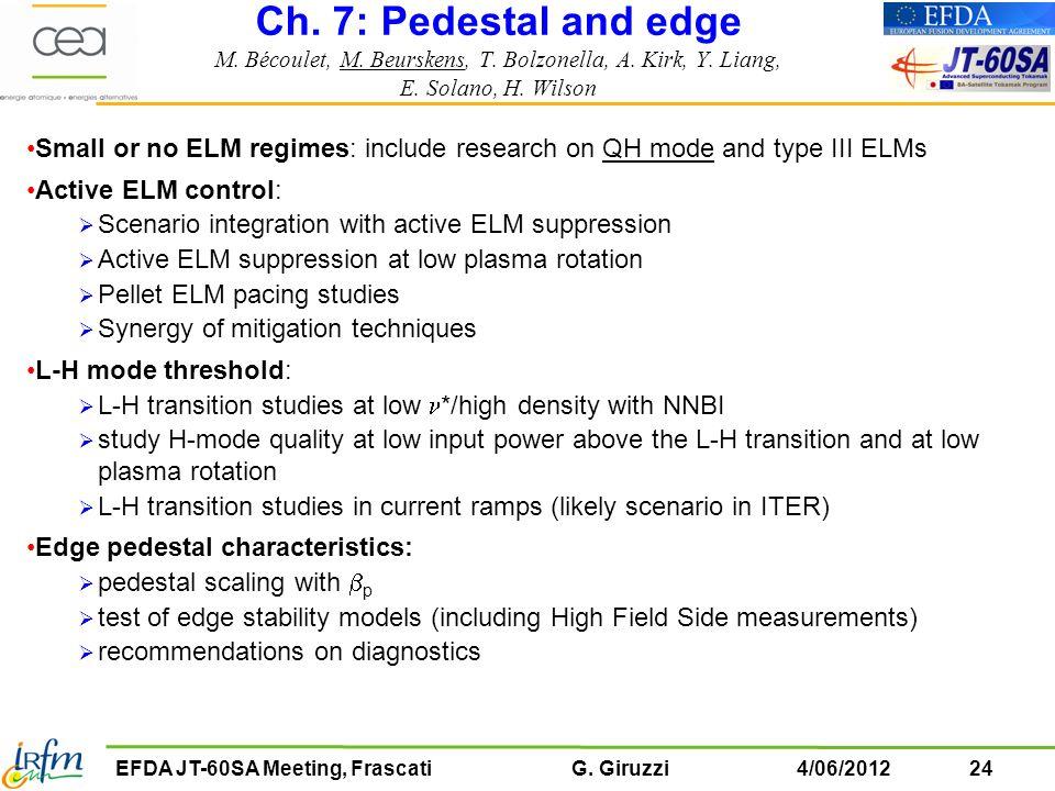 Ch. 7: Pedestal and edge M. Bécoulet, M. Beurskens, T. Bolzonella, A
