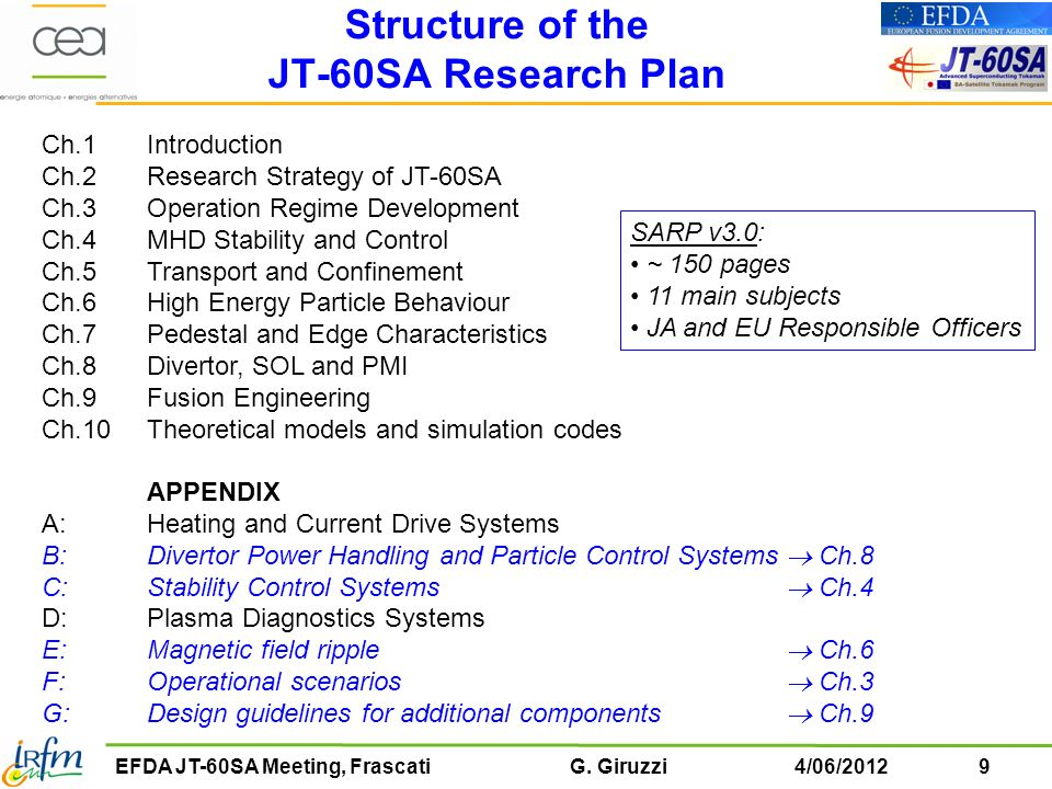 Structure of the JT-60SA Research Plan