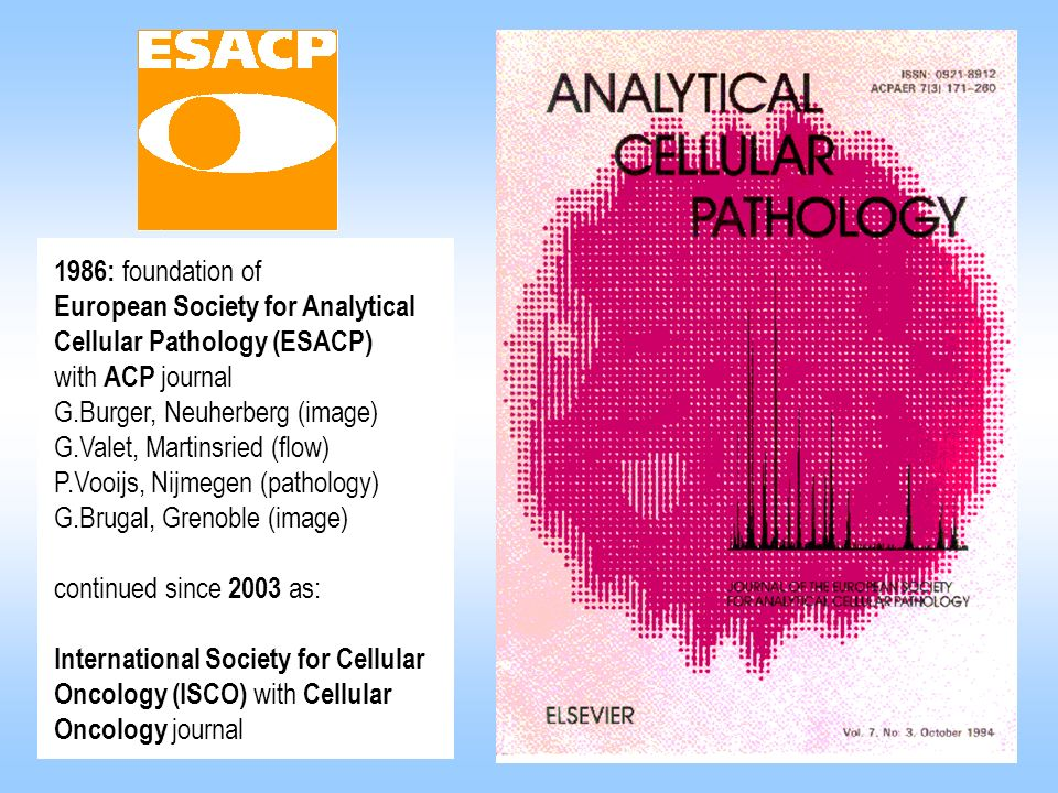 1986: foundation of European Society for Analytical. Cellular Pathology (ESACP) with ACP journal.