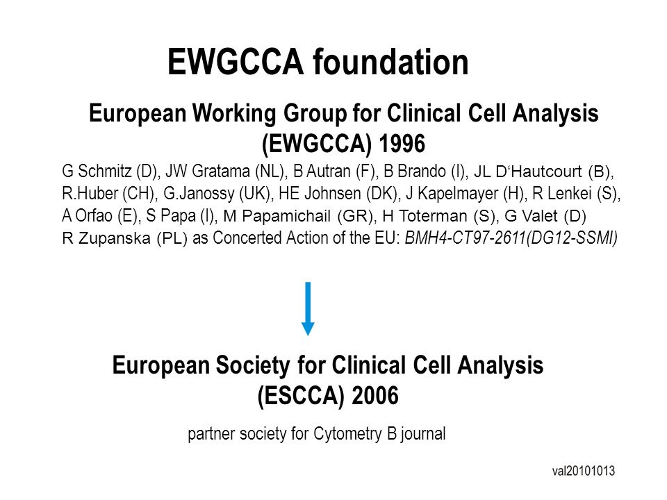 EWGCCA foundation European Working Group for Clinical Cell Analysis (EWGCCA) 1996.