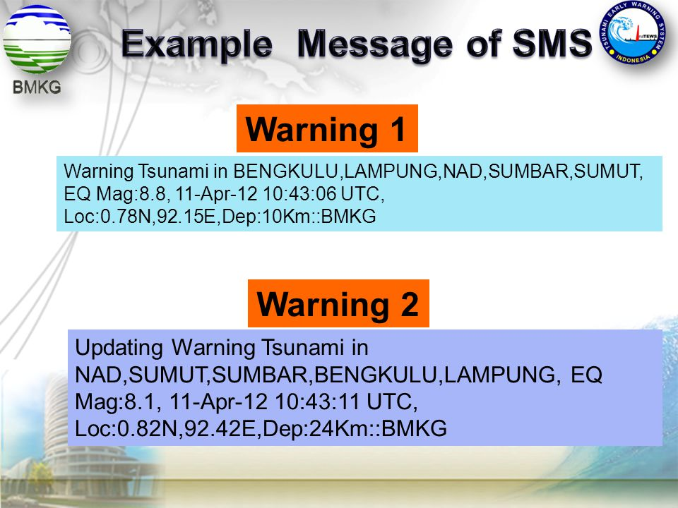 Example Message of SMS Warning 1 Warning 2