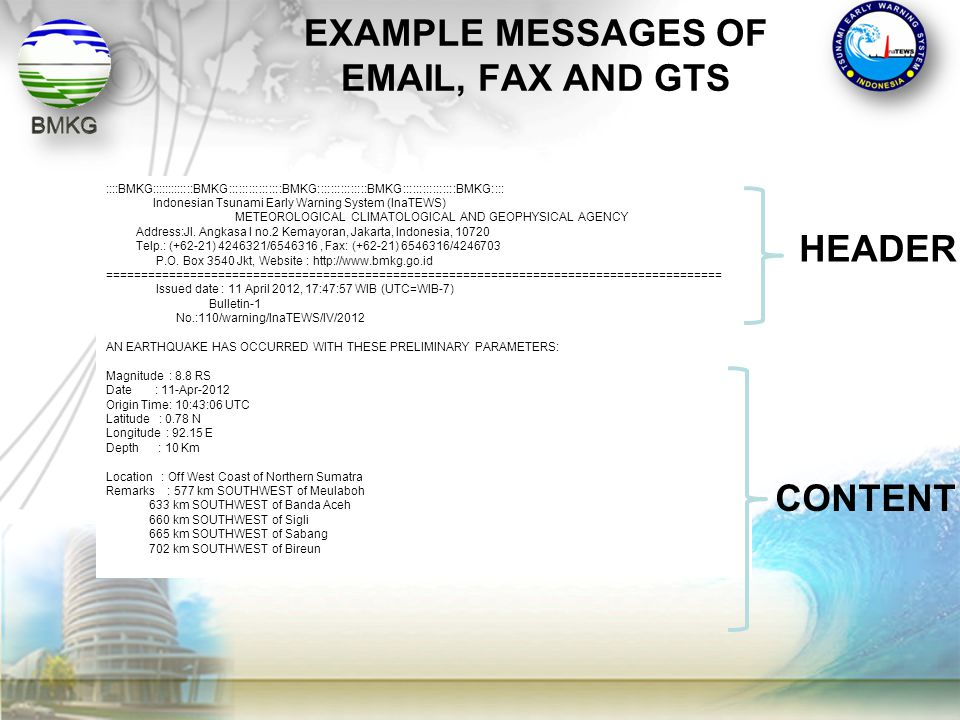 EXAMPLE MESSAGES OF EMAIL, FAX AND GTS