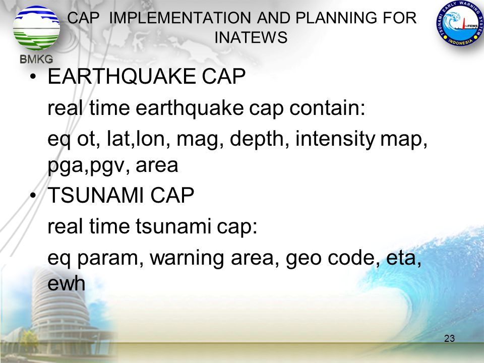 CAP IMPLEMENTATION AND PLANNING FOR INATEWS