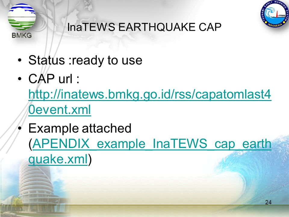 InaTEWS EARTHQUAKE CAP