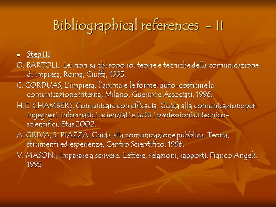 Bibliographical references - II