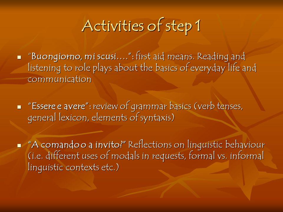 Activities of step 1