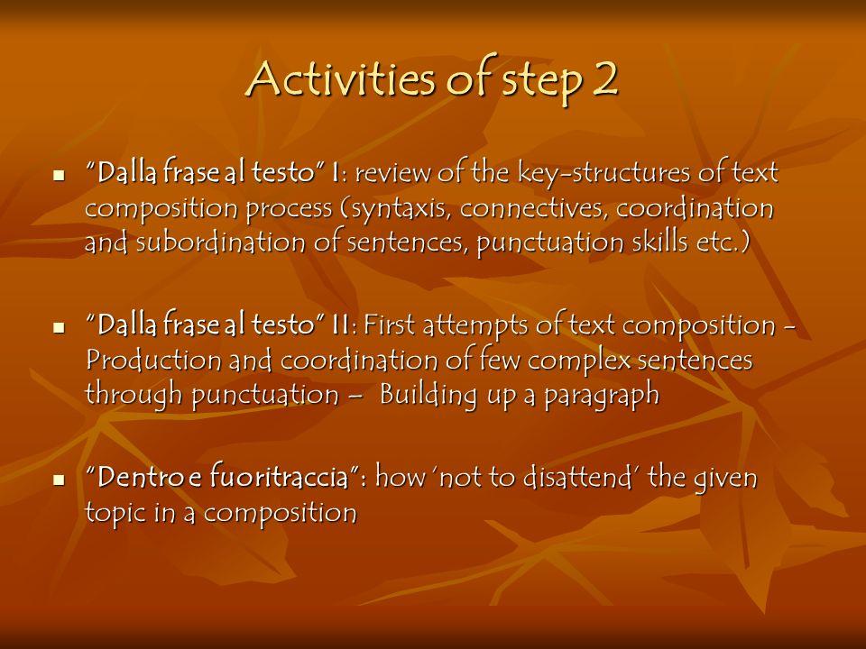 Activities of step 2