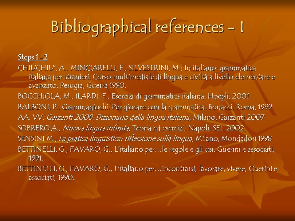 Bibliographical references - I