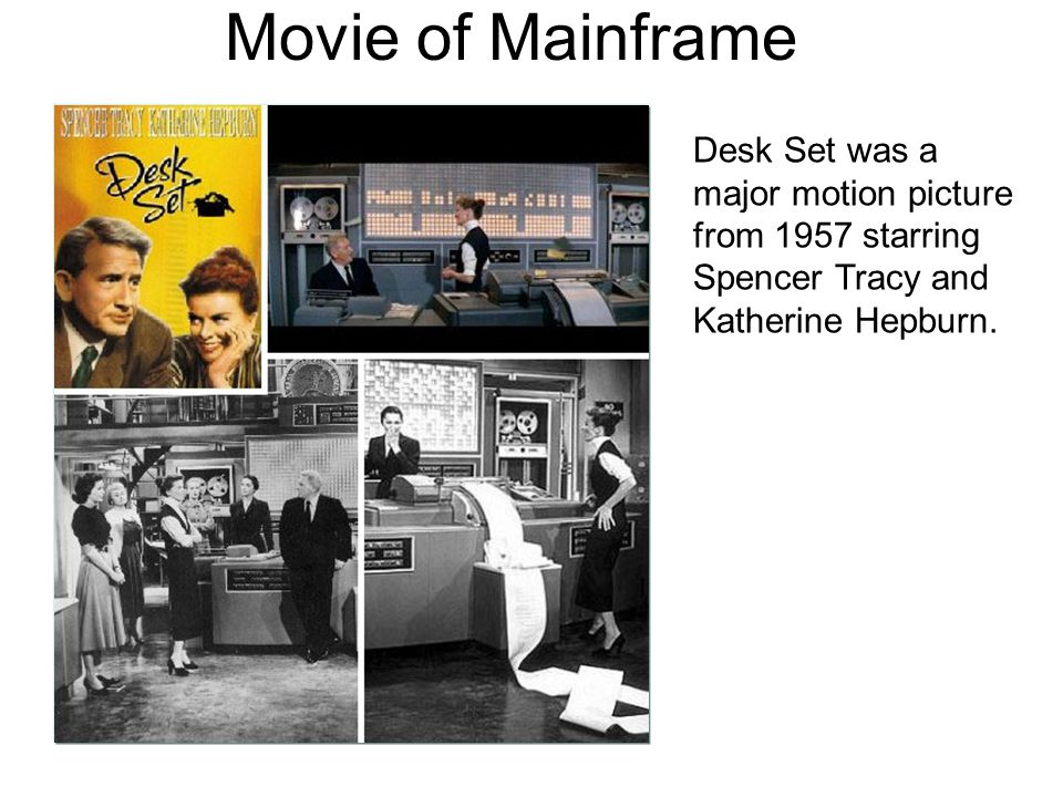 Movie of Mainframe Desk Set was a major motion picture from 1957 starring Spencer Tracy and Katherine Hepburn.