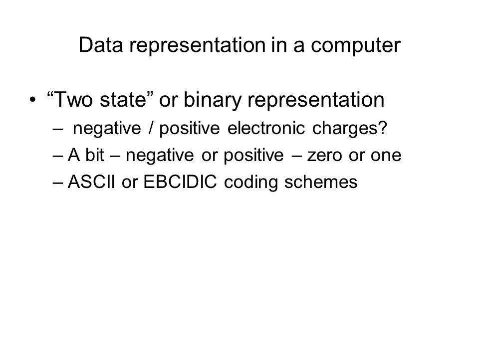 Data representation in a computer
