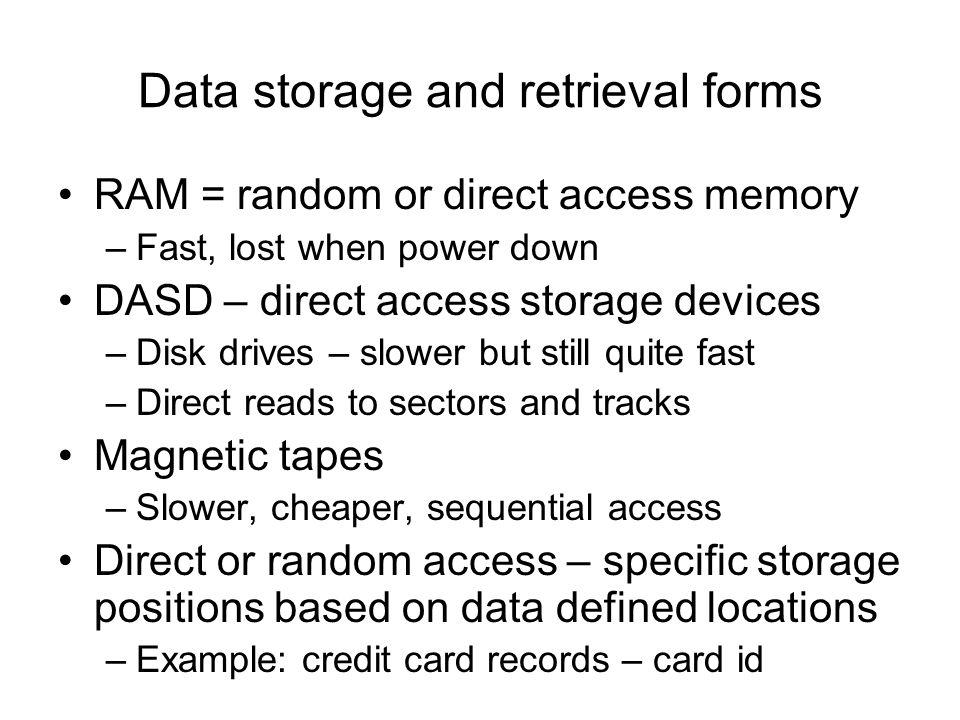 Data storage and retrieval forms