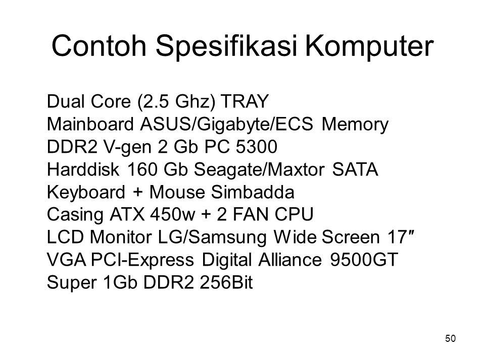 Contoh Spesifikasi Komputer