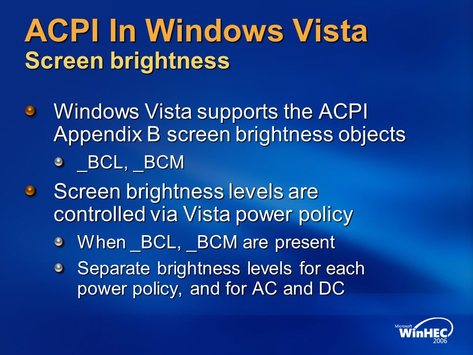 ACPI In Windows Vista Screen brightness