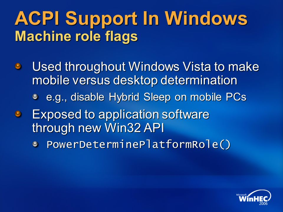 ACPI Support In Windows Machine role flags