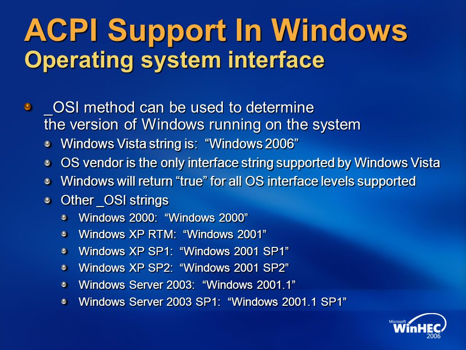 ACPI Support In Windows Operating system interface