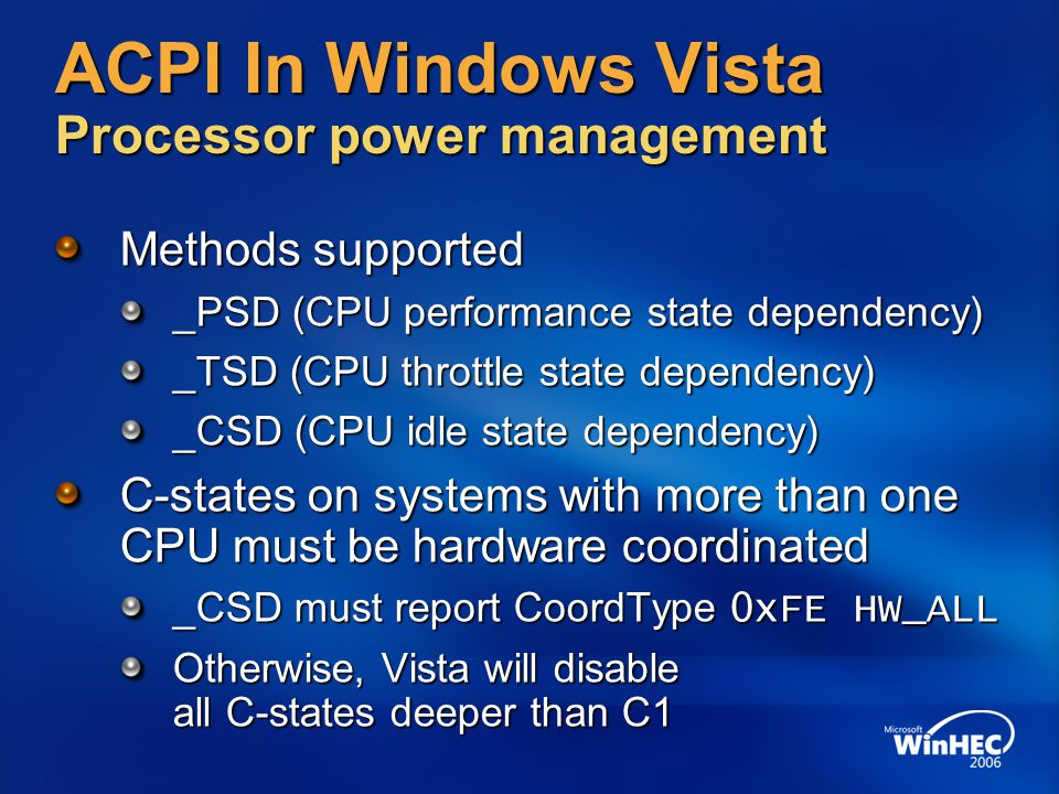 ACPI In Windows Vista Processor power management