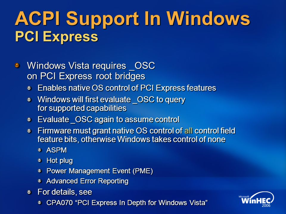 ACPI Support In Windows PCI Express