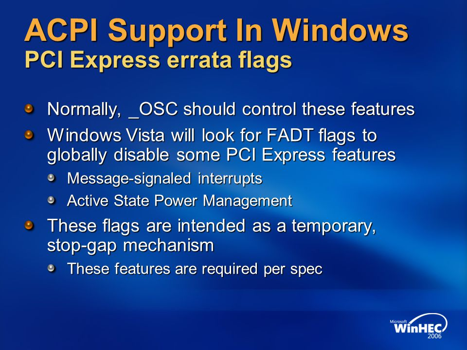 ACPI Support In Windows PCI Express errata flags