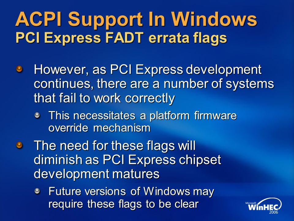 ACPI Support In Windows PCI Express FADT errata flags