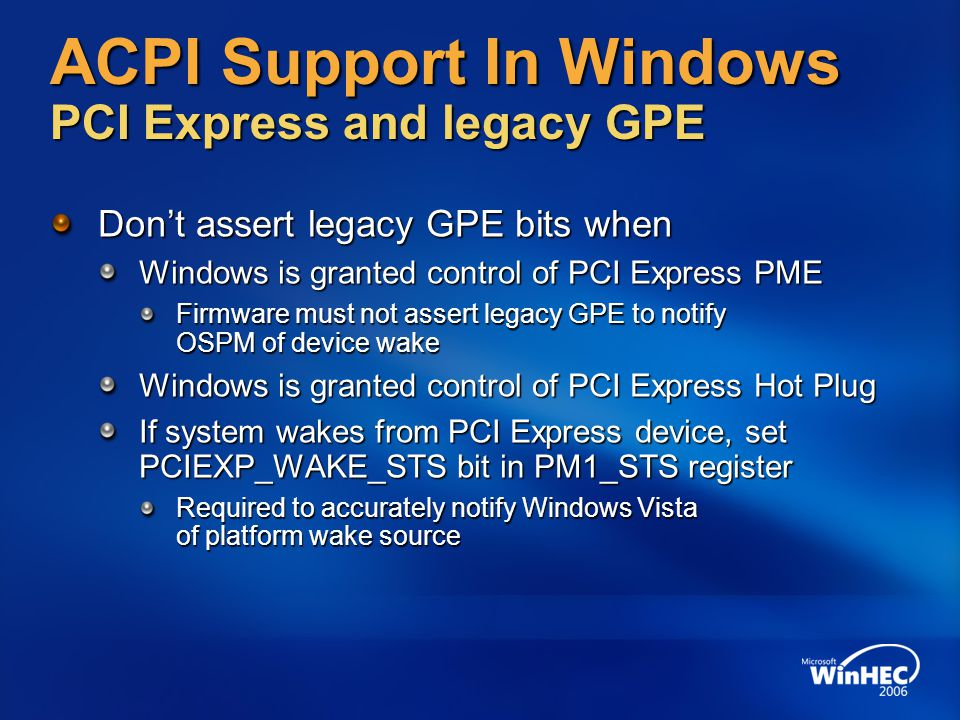 ACPI Support In Windows PCI Express and legacy GPE