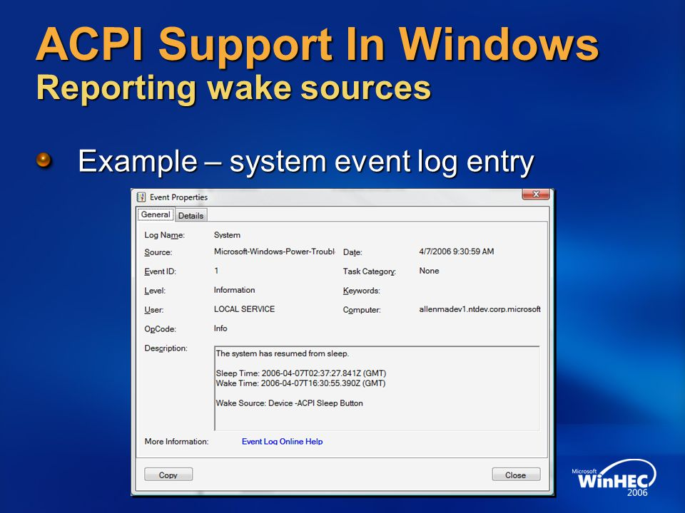 ACPI Support In Windows Reporting wake sources