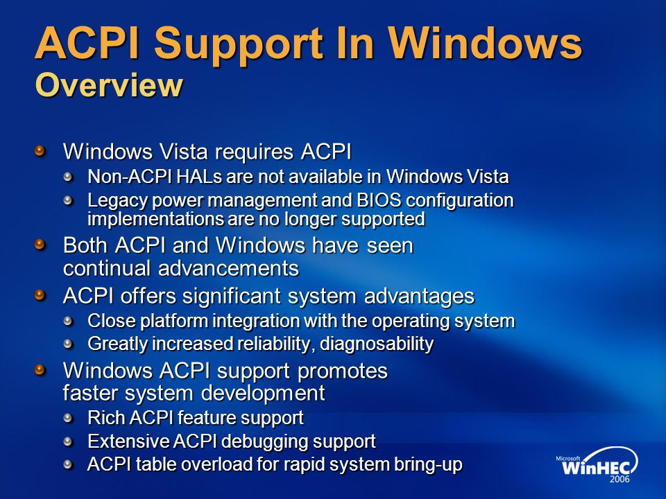 ACPI Support In Windows Overview