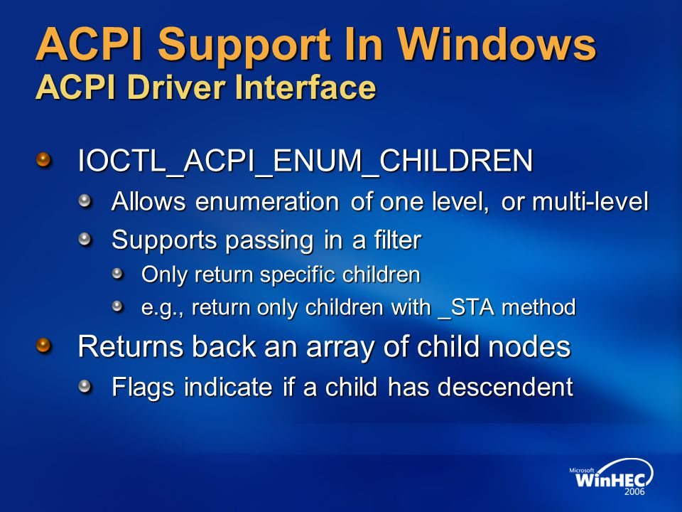 ACPI Support In Windows ACPI Driver Interface