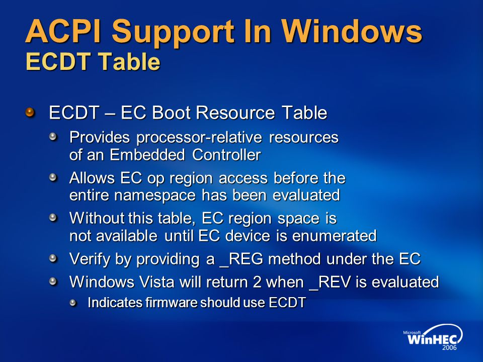 ACPI Support In Windows ECDT Table