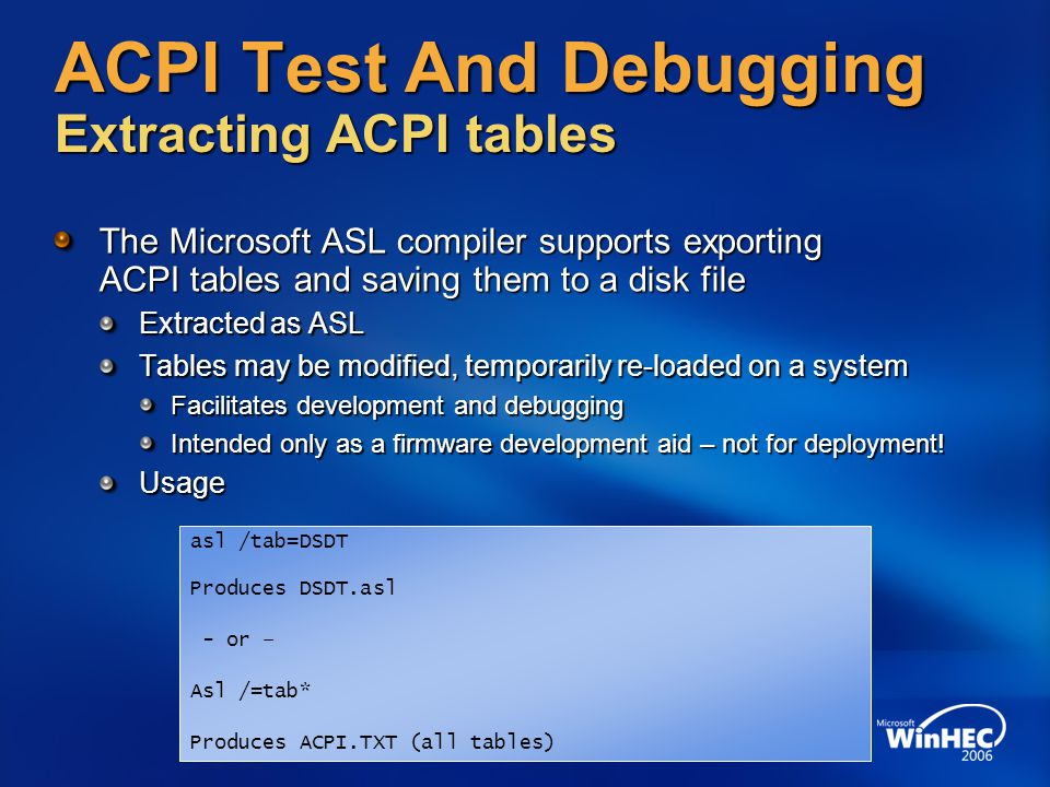 ACPI Test And Debugging Extracting ACPI tables