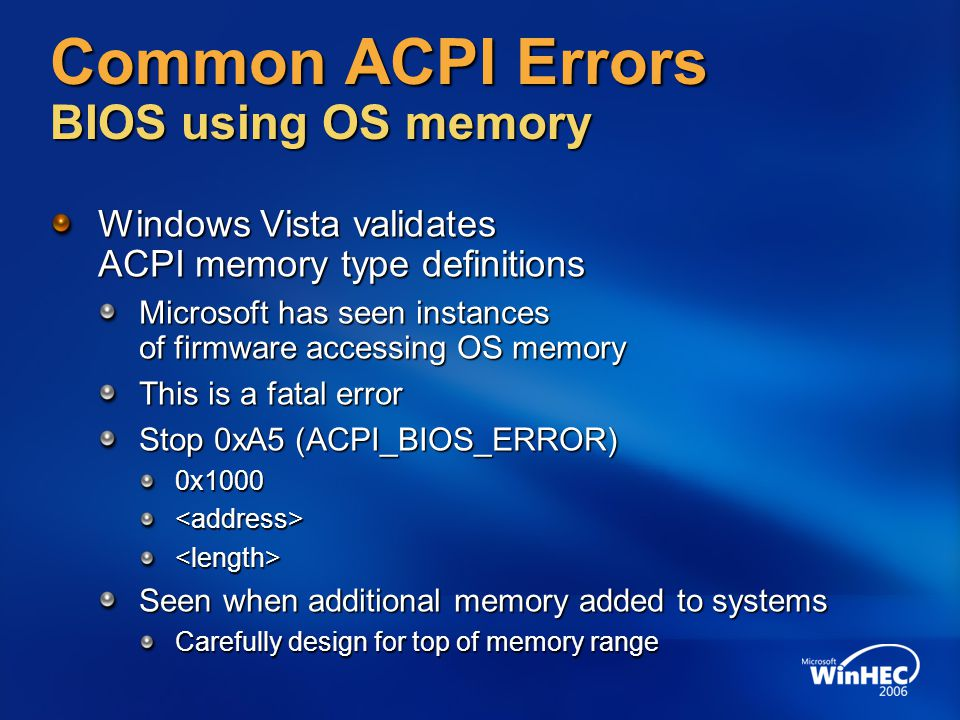 Common ACPI Errors BIOS using OS memory
