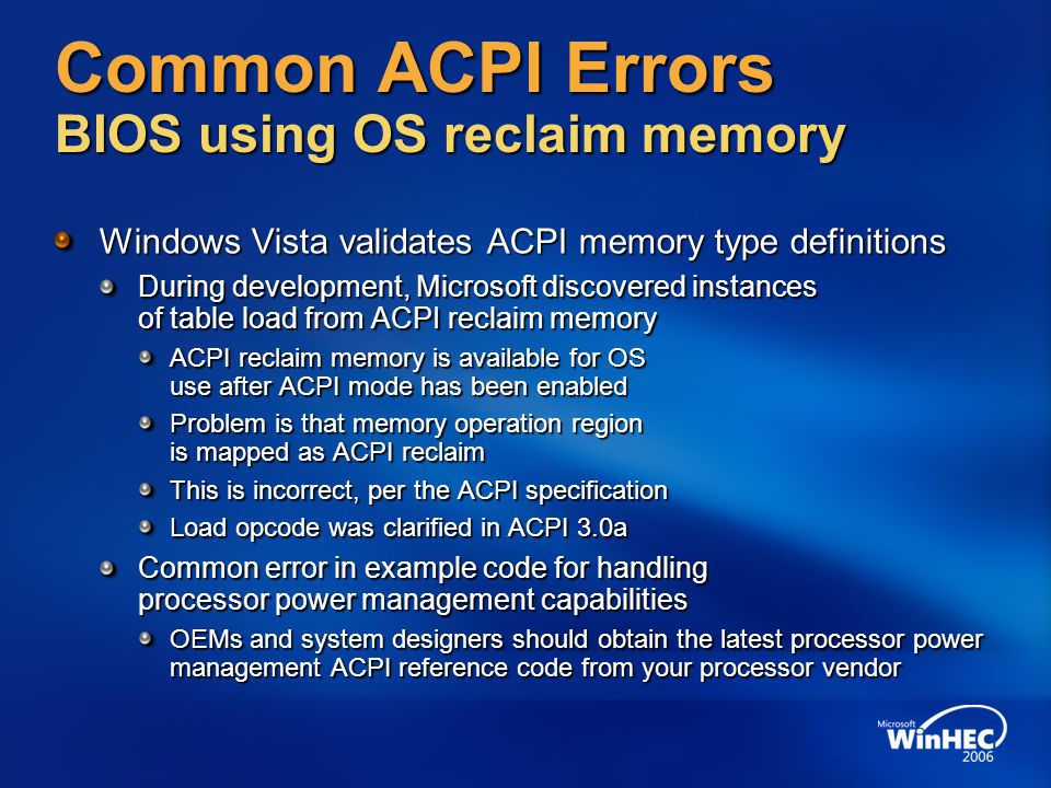 Common ACPI Errors BIOS using OS reclaim memory