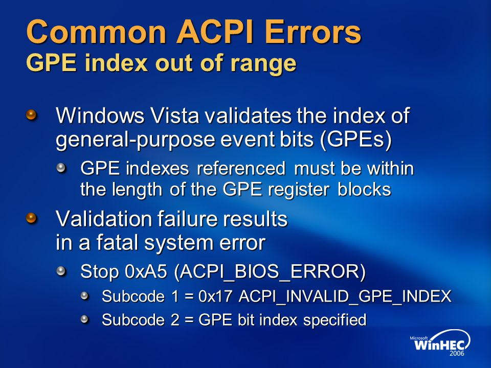 Common ACPI Errors GPE index out of range