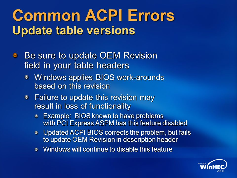 Common ACPI Errors Update table versions
