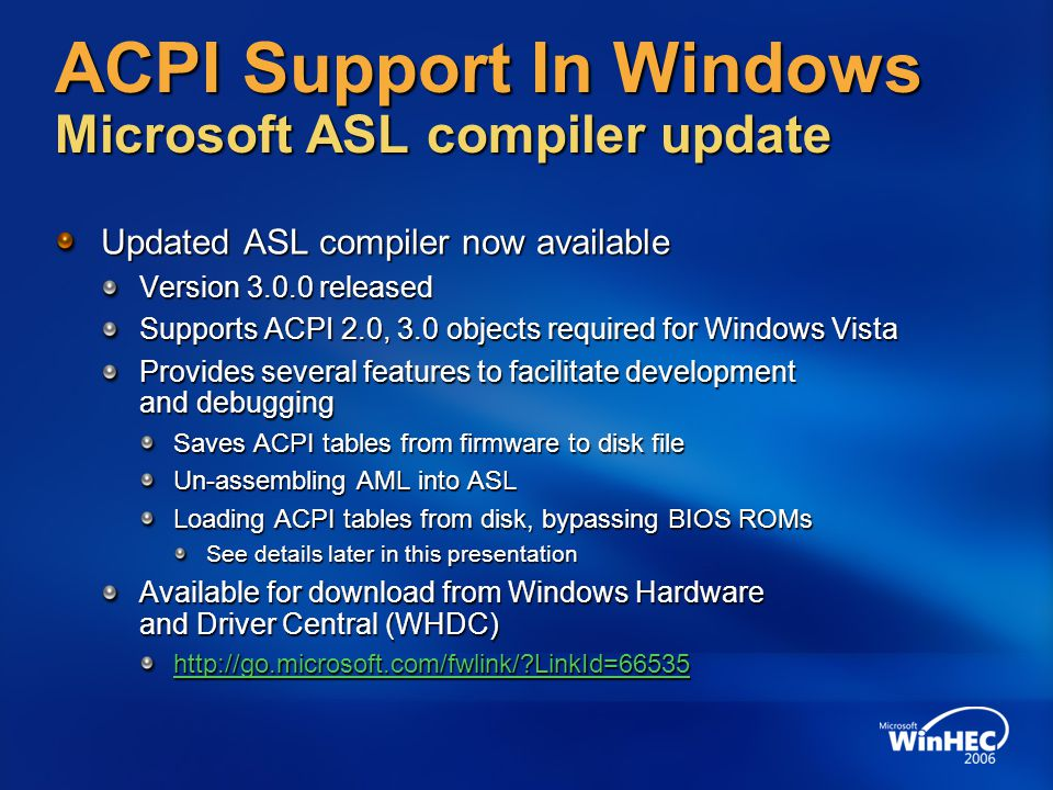 ACPI Support In Windows Microsoft ASL compiler update