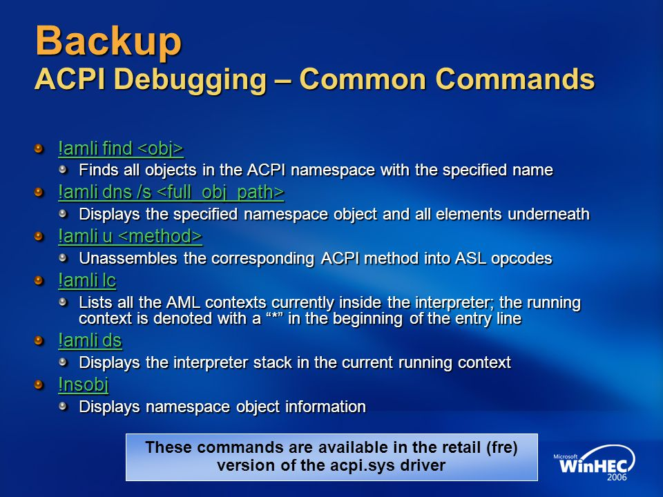 Backup ACPI Debugging – Common Commands