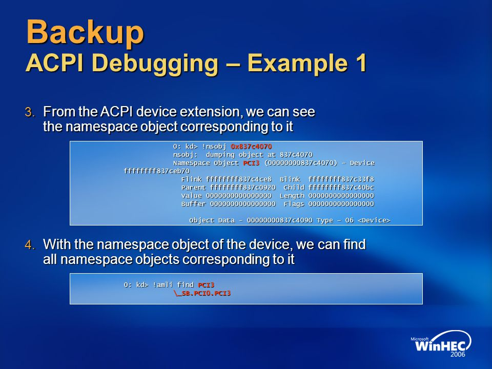 Backup ACPI Debugging – Example 1
