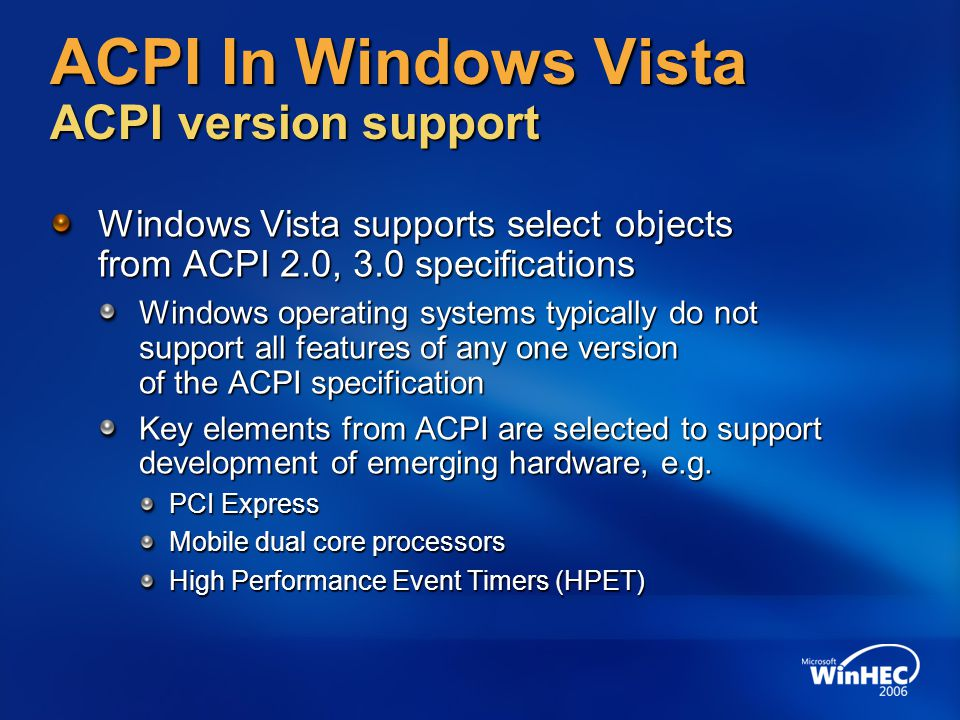 ACPI In Windows Vista ACPI version support