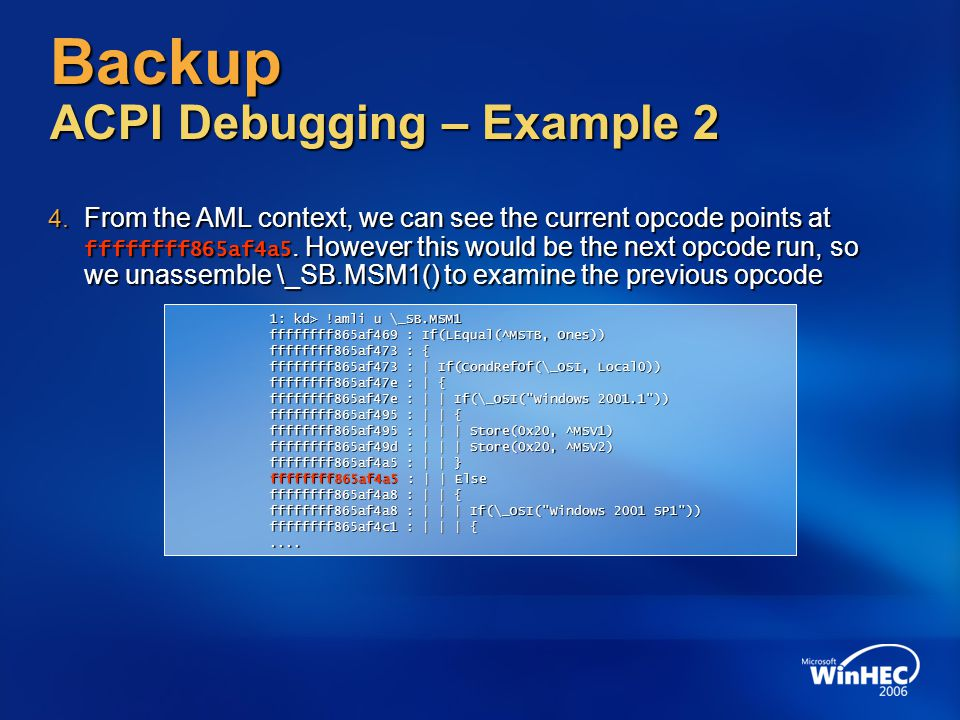 Backup ACPI Debugging – Example 2