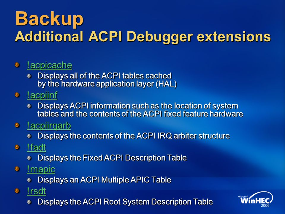 Backup Additional ACPI Debugger extensions