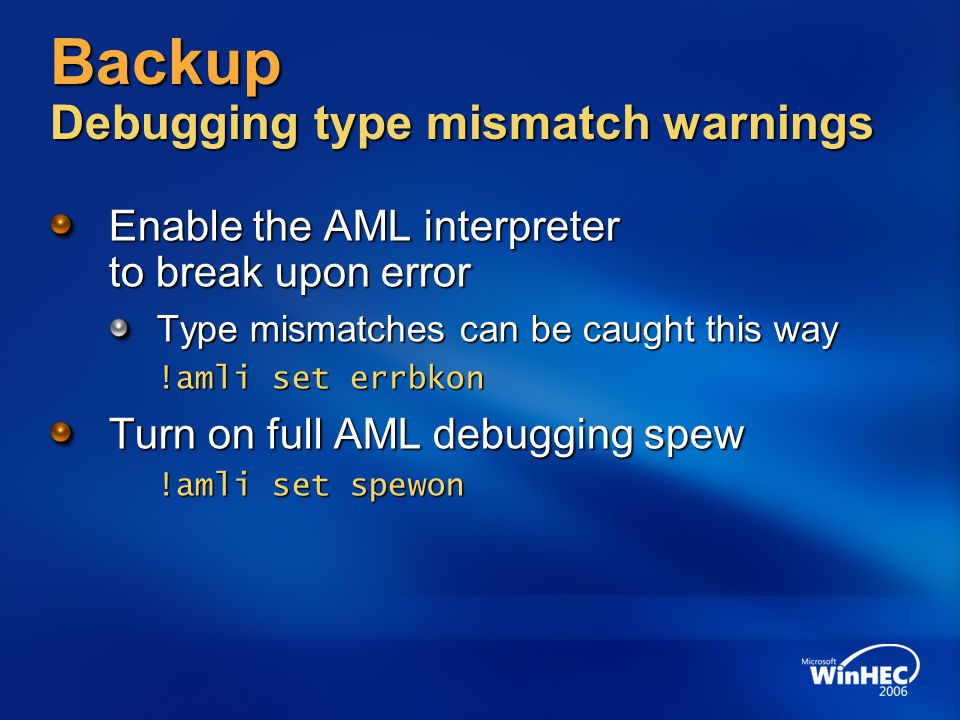 Backup Debugging type mismatch warnings