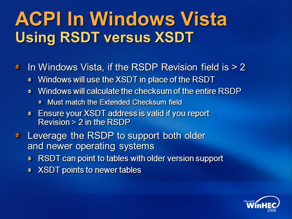 ACPI In Windows Vista Using RSDT versus XSDT